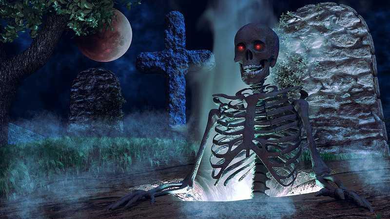 墓場から浮かび上がる骸骨